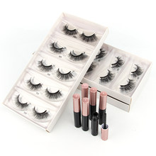 Wholesale Magnetic Eyelashes 3/50/100pcs 3D Mink False Eyelash Magnet Eyeliner Natural Fake Eyelash Set Long Lasting lash Makeup