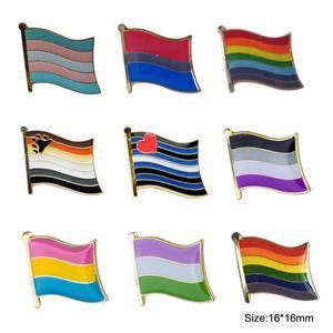 Image 1 - ゲイプライドレインボースターバイセクシャルトランスジェンダー旗ラペルピンバッジエナメルバッジブローチジーンズシャツクールギフト (900 ピース/ロット)