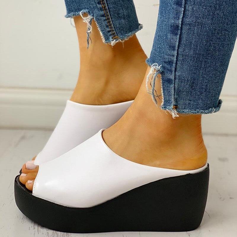 Летние женские шлепанцы; Кожаные слипоны на танкетке; Повседневные пляжные шлепанцы; Женская обувь на платформе; Сандалии, визуально увеличивающие рост; Zapatos De Mujer|Тапочки|   | АлиЭкспресс