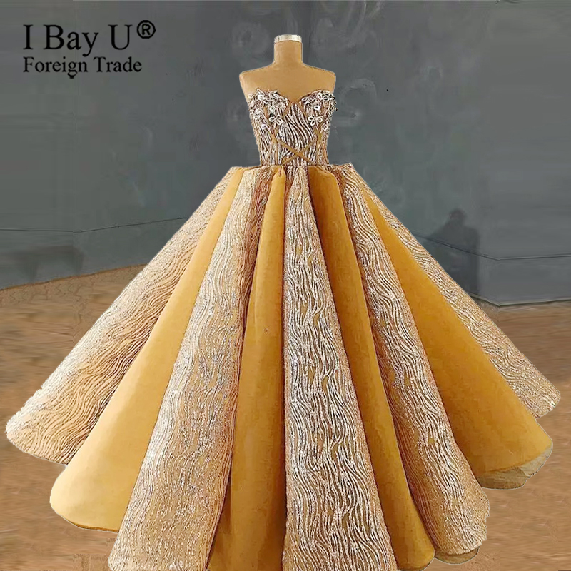 Vestidos De Novia 2020 Arabic Ivory Luxury Glitter Lace Wedding Dress 3D Skirt Champagne Wedding Bridal Gowns Robe De Mariee