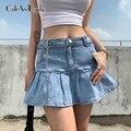 Y2K Frauen Jeans Röcke Hohe Taille Gefaltete Röcke Zipper Mini Röcke Sommer Mode Streetwear Boden Dünne Röcke Cuteandpscho