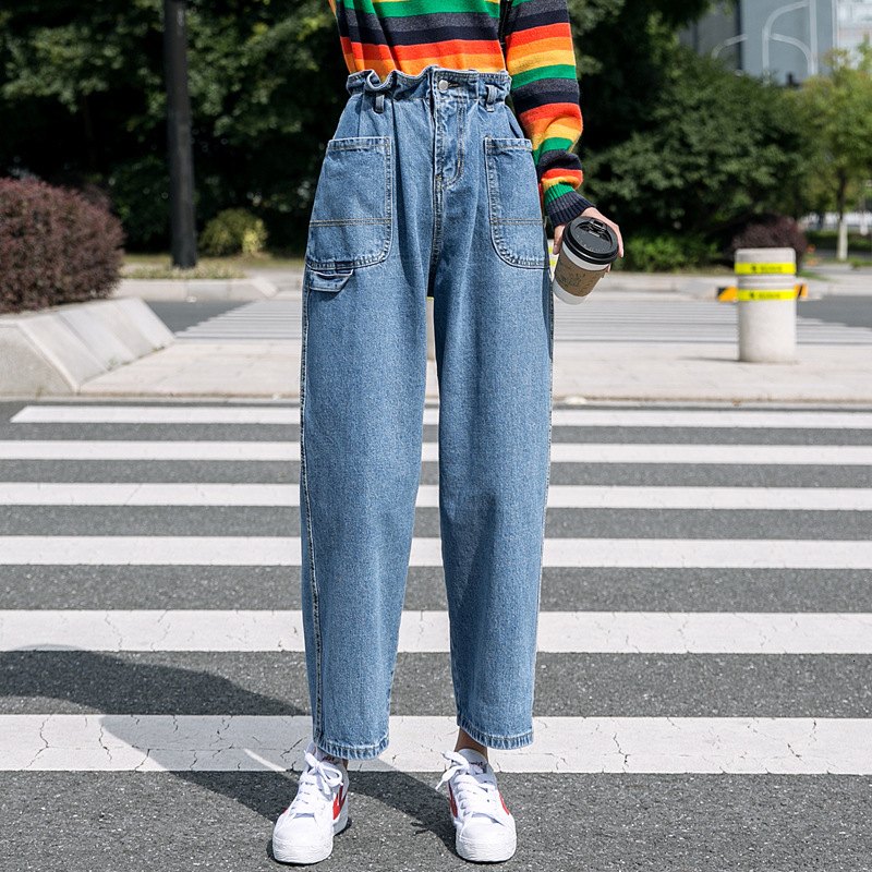 #3182 Elastic High Waisted Wide Leg Jeans Women Ankle-length Loose Front Pockets Korean Style Denim Jeans Womens Korean Style