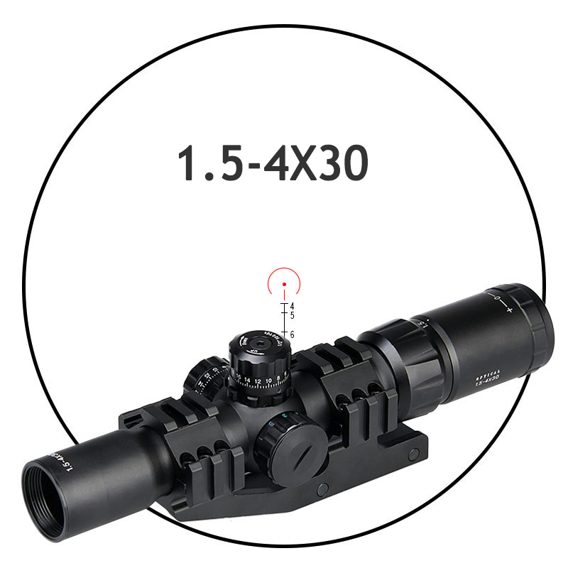 PPT Tactical Rifle Scope 1.5-4X30 Rifle Scope Red / Green / Blue Illuminated For Hunting Gs1-0246B