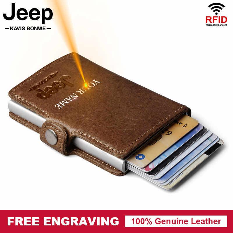 Livre gravura rfid couro masculino carteira de alumínio titular do cartão de crédito ocasional bloqueando mini carteira mágica cartão automático moeda bolsa