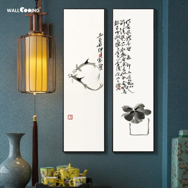 Роспись на холсте в китайском стиле, чернила, комбинированная декоративная живопись, китайский художник Qi Baishi, крупномасштабная Вертикальн...
