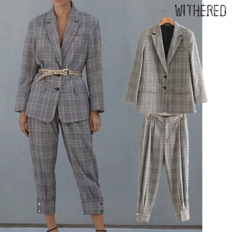 Withered England Vintage Plaid Blazer Feminino Blazer Women Blazer Mujer 2019 Women Pants Pantalones Trousers Women 2 Piece Set
