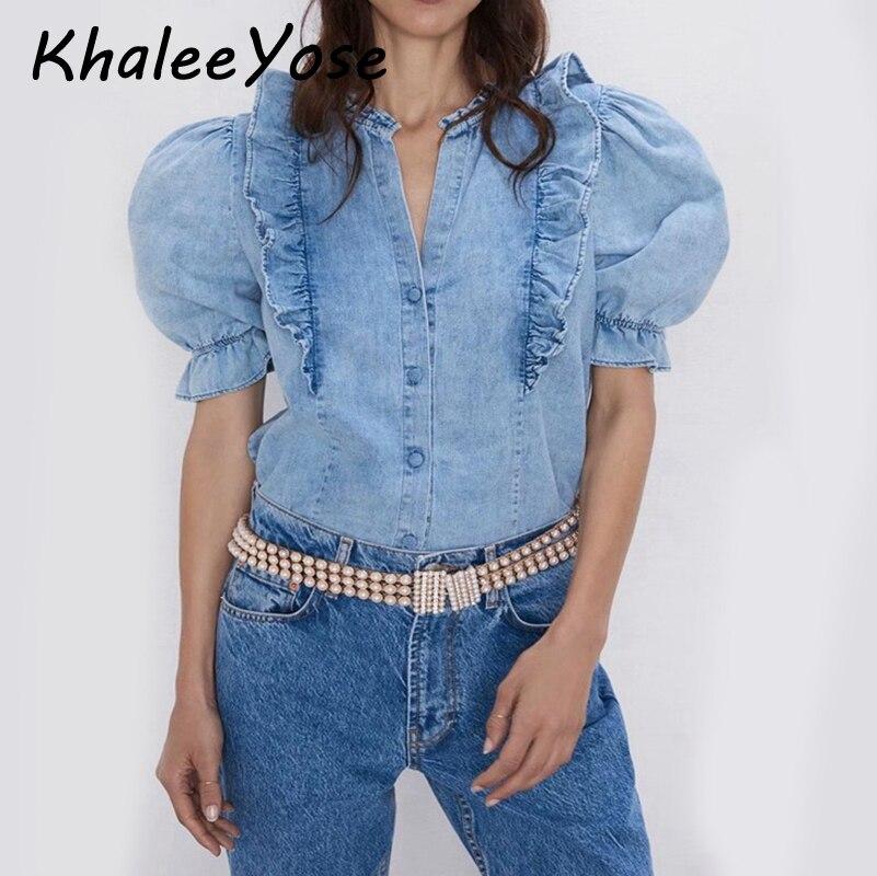 KHALEE YOSE Blue Denim Blouses Shirts Autumn Vintage High Street Blouse Ruffles Puff Sleeve Women 2019 Shirt Tops