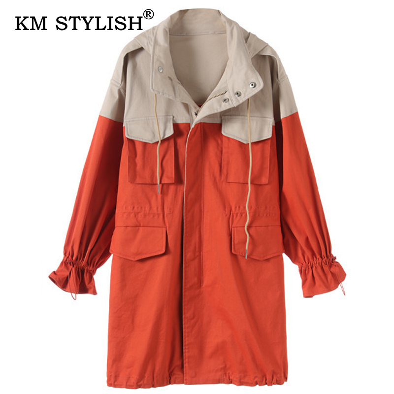 2019 Autumn winter Fashion Women Hooded   Trench   Patchwork Pocket   Trench   Female Mid-long Outwear Work Clothes Overall