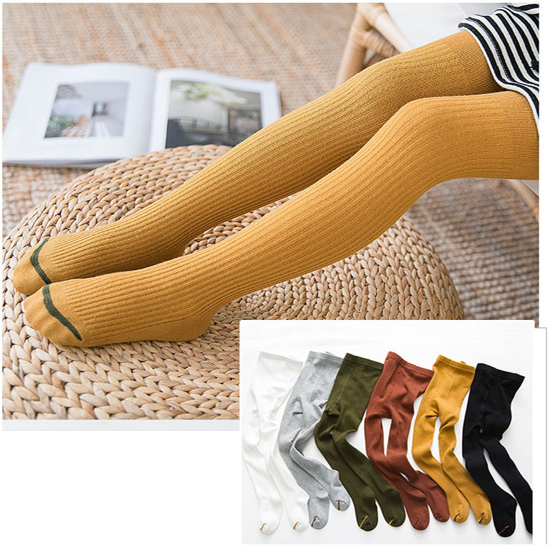 GZhilovingL Spring Girls Baby Cotton Long Leg Warm Stockings Solid Knitted Ribbed Pantyhose For Girl Kids Child Tights Stocking