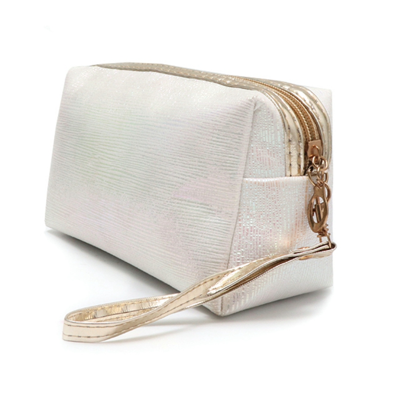 Gold Silk Cosmetic Bag High Capacity Waterproof Portable Golden Silk Fabric Makeup Bag Sturdy Use