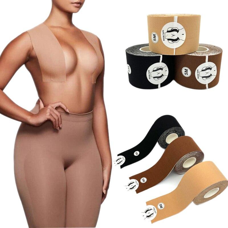 1 рулон, 5 м, Обложка для сосков, бюстгальтер пуш-ап, лента для груди, Женский Кеш, невидимая лента для подтяжки груди, клейкие бретельки для бю...
