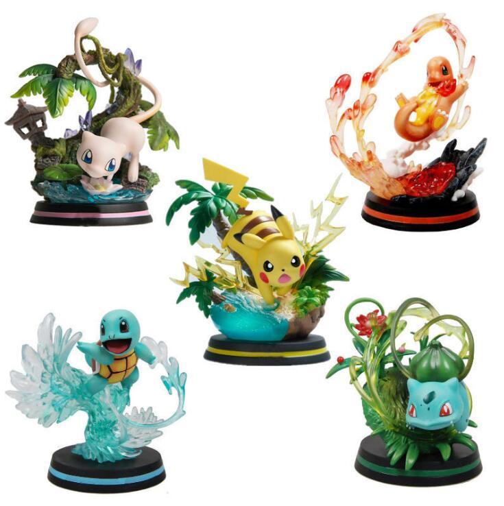 Pokemon Pikachu Squirtle Mew Skill PVC Action Figure 110mm Anime Pokemon Game Pikachu Figurine Toys Doll Gift