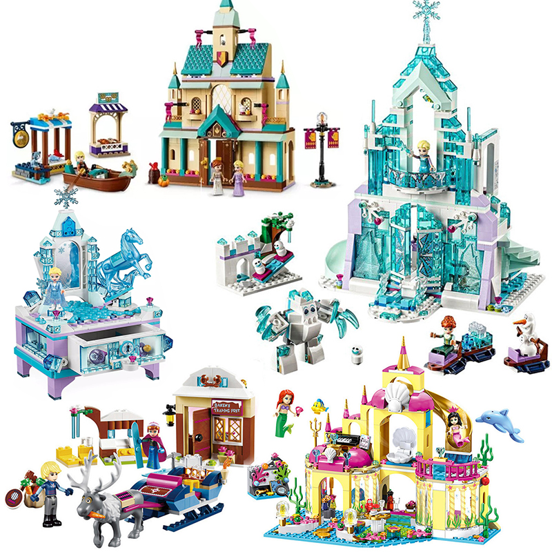 2020 City Creator Dream Princess Castle Elsa Anna Model Building Block Brick Gift Toy Compatible Legoinglys 41148 Friends Girl