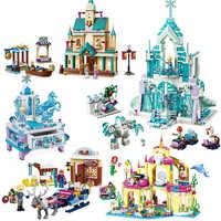 2020 cidade criador sonho princesa castelo elsa anna modelo bloco de construção tijolo presente brinquedo compatível legoinglys 41148 amigos menina