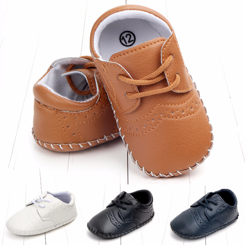 Black Baby Shoes With Rubber Sole For Outdoor Baby Boy Infant White Leather Boy Sneakers Baby Boy Shoes