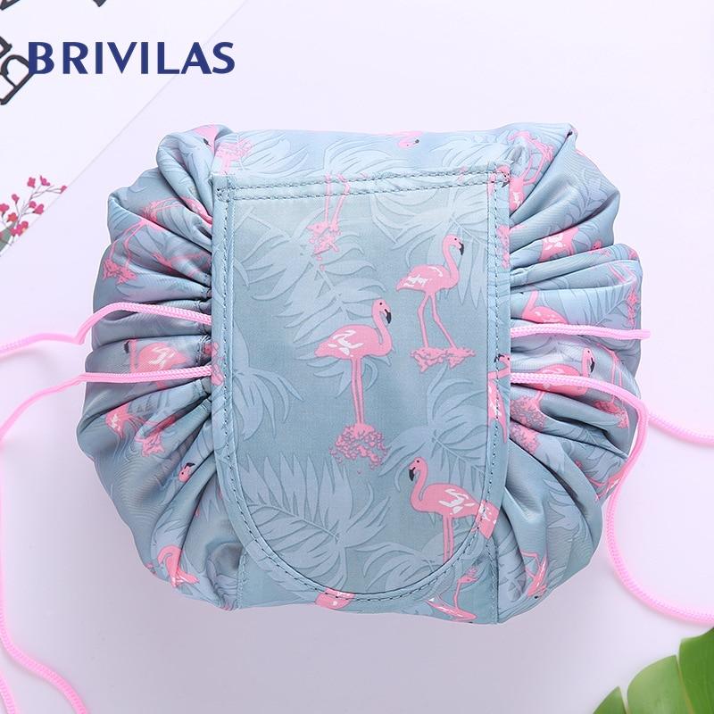 Brivilas Drawstring Travel Cosmetic Bag For Women Makeup Storage Portable Bags Flamingo Waterproof Fashion Beauty Toiletry Bag