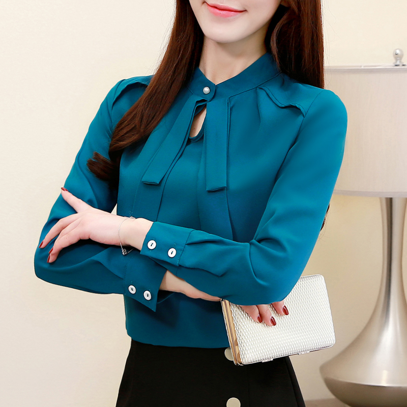 Fashion Womens Tops And Blouses Plus Size Chiffon Blouse Shirt Bow Collar Office Blouse Long Sleeve Women Shirts Blusas 2236 50 2