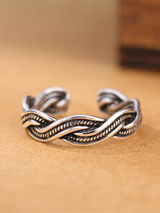 925-Sterling-Silver Jewelry Opening-Ring Women New Retro for And Intertwined Creative