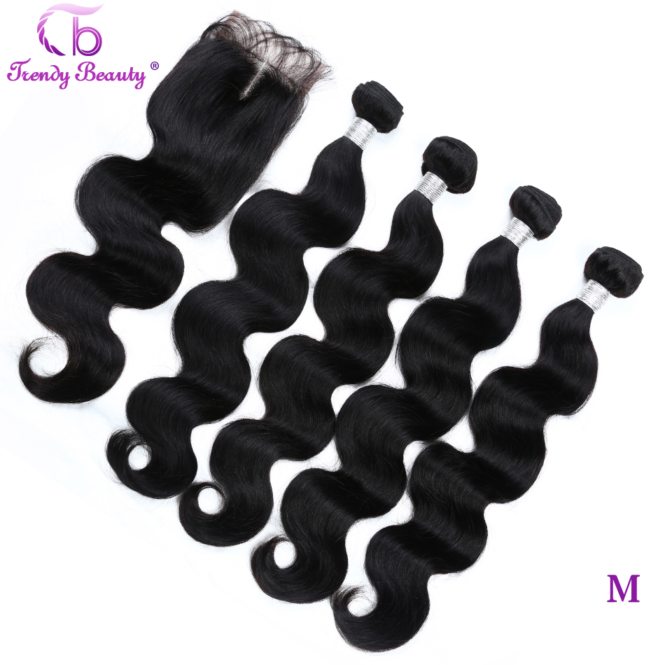 Trendy Beauty Bundles With Closure 5 Ppcs/lot Indian Body Wave Hair Weave Bundles With Closure Human Hair Extensions Non-remy