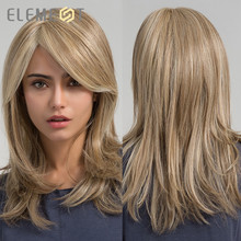 Element Synthetic Long Straight Hair Light Brown Mix Blonde Wigs with Side Bangs for White/Black Women Daily Wear