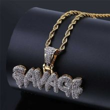 SAVAGE Brass Gold Color Iced Out Micro Pave Cubic Zircon 24inch Rope Charm Chain for Men