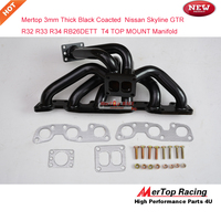 Mertop 3mm thick Black coated G TR R32 R33 R34 RB26DET RB26 T4 TWIN TOP MOUNT Turbo Exhaust Manifold