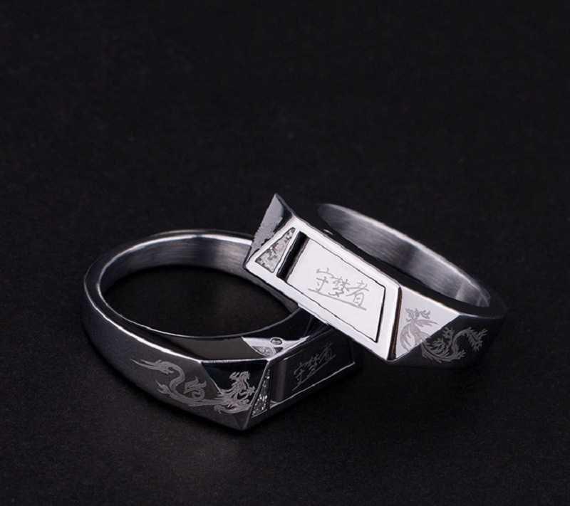 New Dragon Feng Jixiang Titanium Steel Ring Invisible Self-protection Method Self Defense Broken Window Cutting Rope Guard Ring