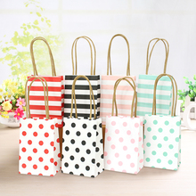 New arrival small gift bag with handle simple elegant  packing bags wedding paper candy portable shopping 50pcs/lot
