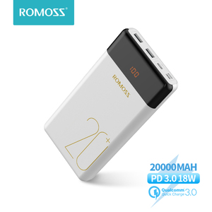 20000 мАч ROMOSS LT20 Pro Power Bank портативный внешний аккумулятор с двухсторонней быстрой зарядкой PD портативное зарядное устройство для телефонов и ...