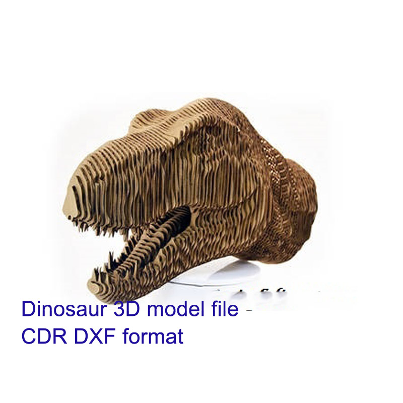 Dinosaur Head 3D Model CNC Laser Cutting File CDR Format File Vector Design Drawing
