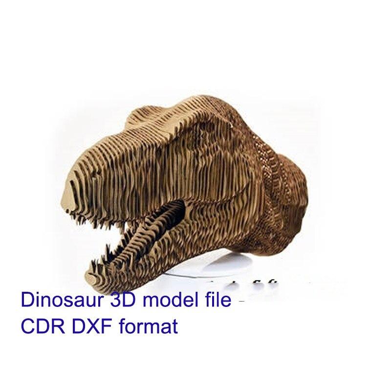 Dinosaur Head 3D Model CNC Laser Cutting File CDR Format File Vector Design Drawing