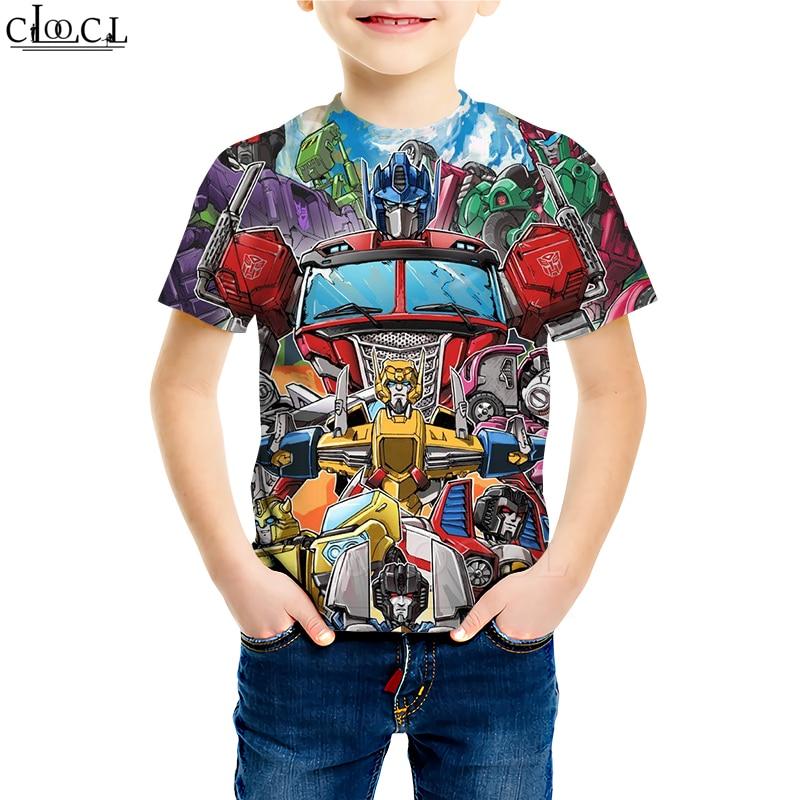 Autobots Transformation Robot T Shirts Boy Girl 3D Print Classic Cartoon Hornet Baby Funny T Shirt Youth Casual Children Tops
