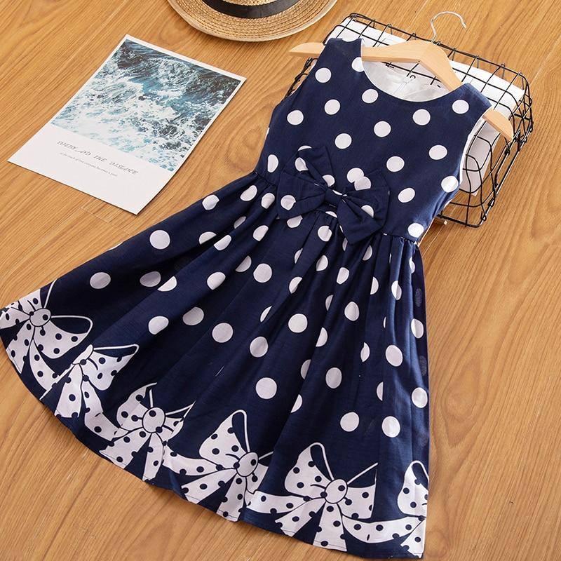 3-12 Years Girls Polka-Dot Dress 2019 Summer Sleeveless Bow Ball Gown Clothing Kids Baby Princess Dresses Children Clothes 2