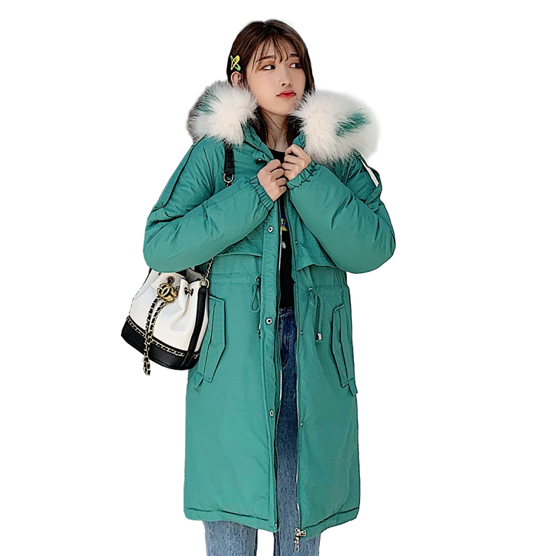 Fashion 2019 New Winter Women Faux Fur Collar Hooded Down Cotton Loose Long Coat Outwear Female Padded Jacket   Parkas   Mujer YF590