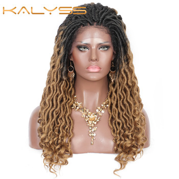 Kalyss 22 Inches Goddess Lace Front Wig Jumbo  Braids with Curly Loose Ends Ombre Synthetic Wavy Braiding Wigs - discount item  25% OFF Synthetic Hair