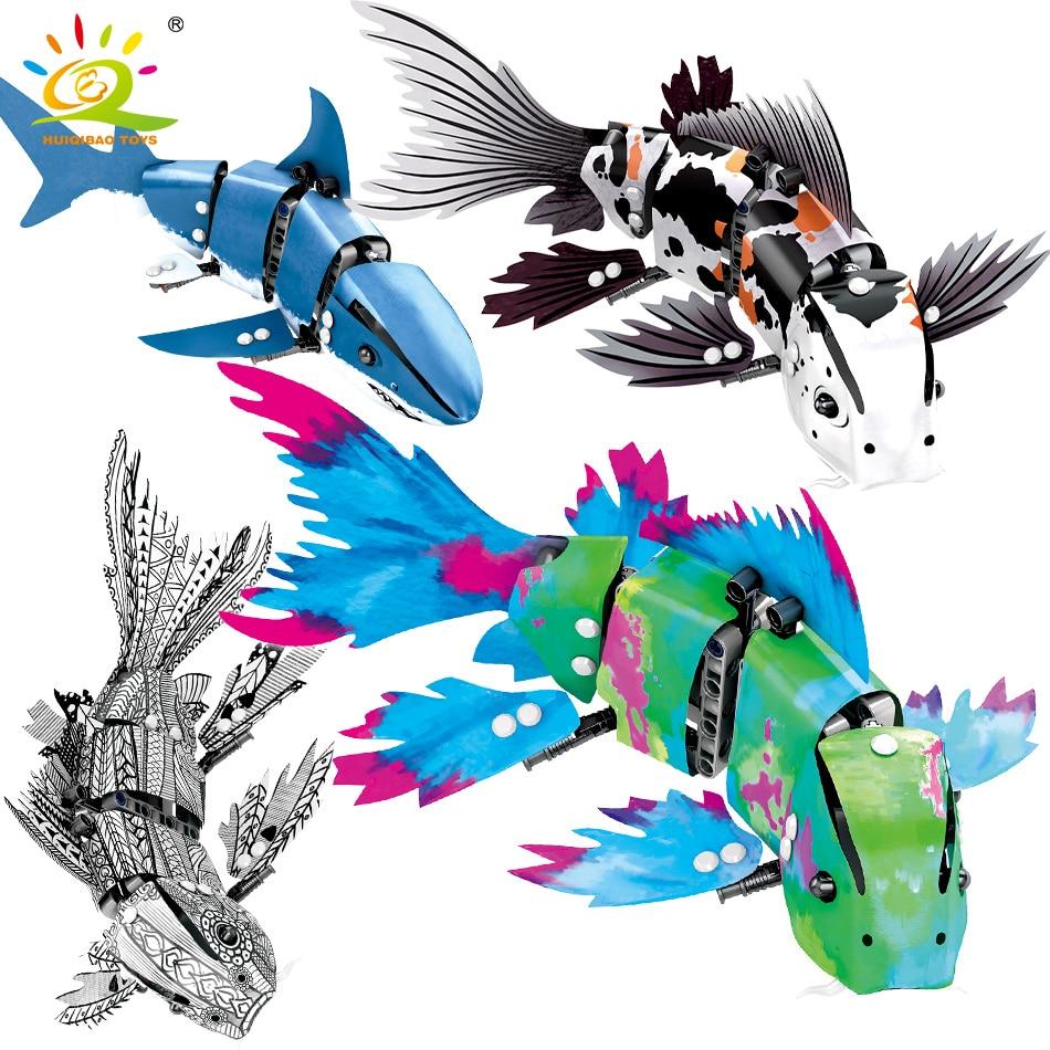 HUIQIBAO 4 Pcs DIY Technic Marine Animal Koi Fish Model Building Blocks Garage Children Educational Bricks Toys GiftBlocks   -