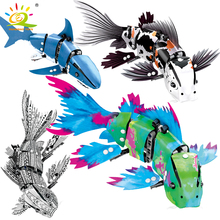 HUIQIBAO 4 Pcs DIY 기술 해양 동물 잉어 물고기 모델 빌딩 블록 차고 어린이 교육 벽돌 장난감 선물