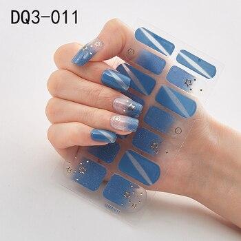 14pcs/sheet Glitter Gradient Color Nail Stickers Nail Wraps Full Cover Nail Polish Sticker DIY Self-Adhesive Nail Art Decoration 66