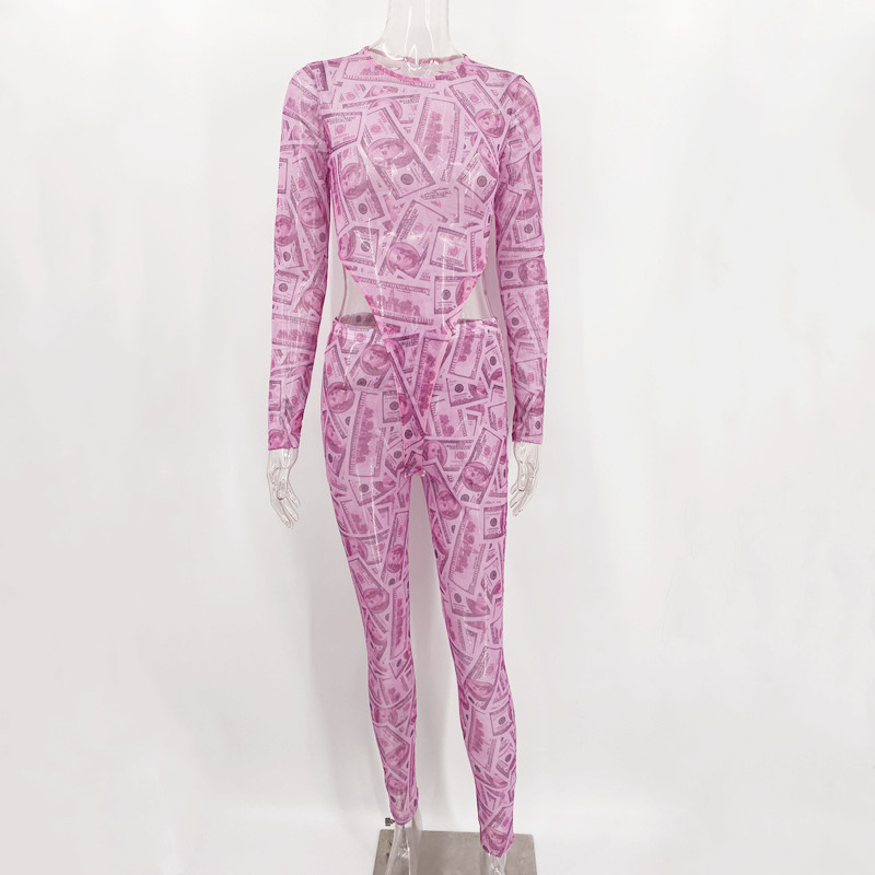 Closeout DealsJoskaa Pants Outwear Bodysuit Mesh-Print Night-Club Long-Sleeve Party 2pieces-Set Fashion