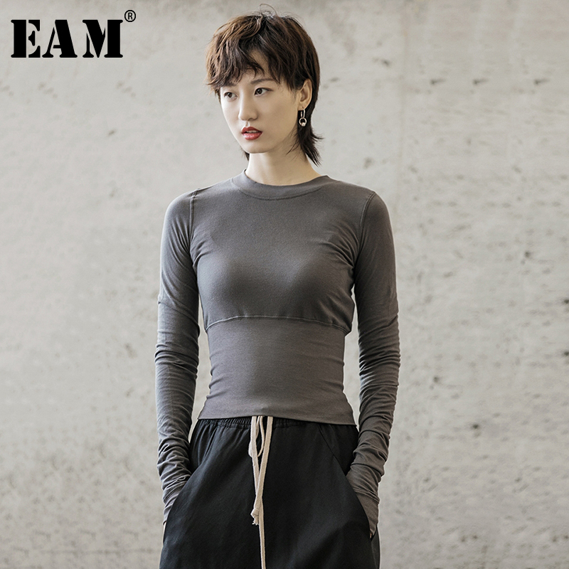 [EAM] Women Black Gray Slim Fit Simple T-shirt New Round Neck Long Sleeve Fashion Tide All-match Spring Autumn 2021 1B213