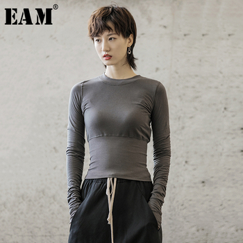 [EAM] Women Black Gray Slim Fit Simple T-shirt New Round Neck Long Sleeve Fashion Tide All-match Spring Autumn 2021 1B213 - discount item  32% OFF Tops & Tees