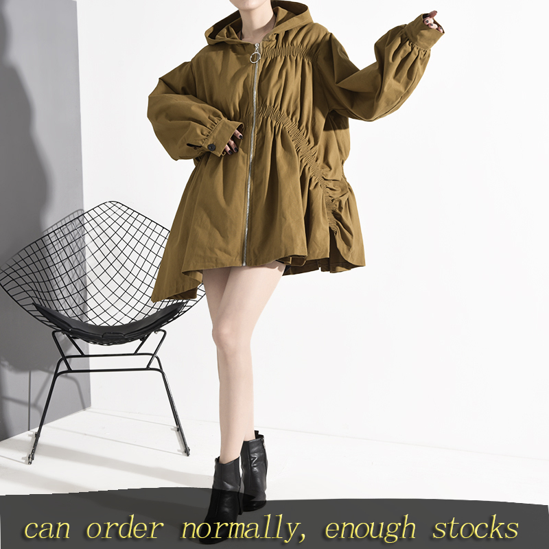 LANMREM Stock 2020 New Spring Women Zipper Pleated Large Size Coat Famale Korea Casual Mid-length Trench Coat With Hat 19C-a136