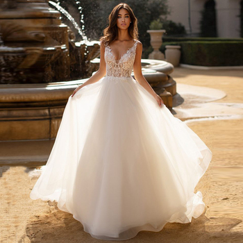 Sexy Backless Wedding Dresses Vestido De Noiva Deep V-neck Illlusion Lace Applique Tulle Bridal Wedding Gowns Robe De Mariee short wedding dresses 2019 new design v neck cap sleeve backless tea length a line tulle lace bridal gowns vestido de noiva