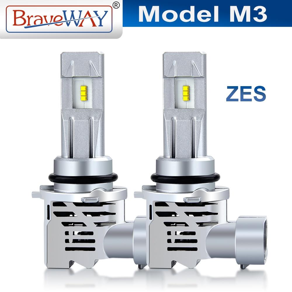 Braveway M3-ZES Mini LED linterna del coche de H4 H7 H11 H1 9005 9006 HB3 HB4 16000LM 6000K Auto LED lámparas bombillas de luz de motocicleta 12V