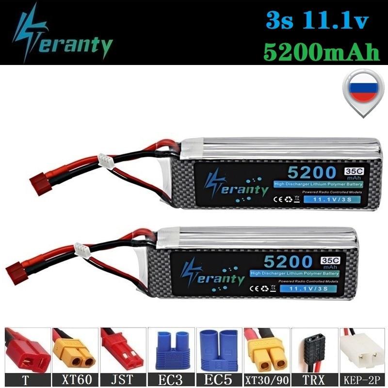 100% capacidad 3S 11,1 v 5200mAh 35C LiPo batería para RC Drone coches RC Robots RC barcos de juguete 11,1 v batería recargable Lipo 2 uds