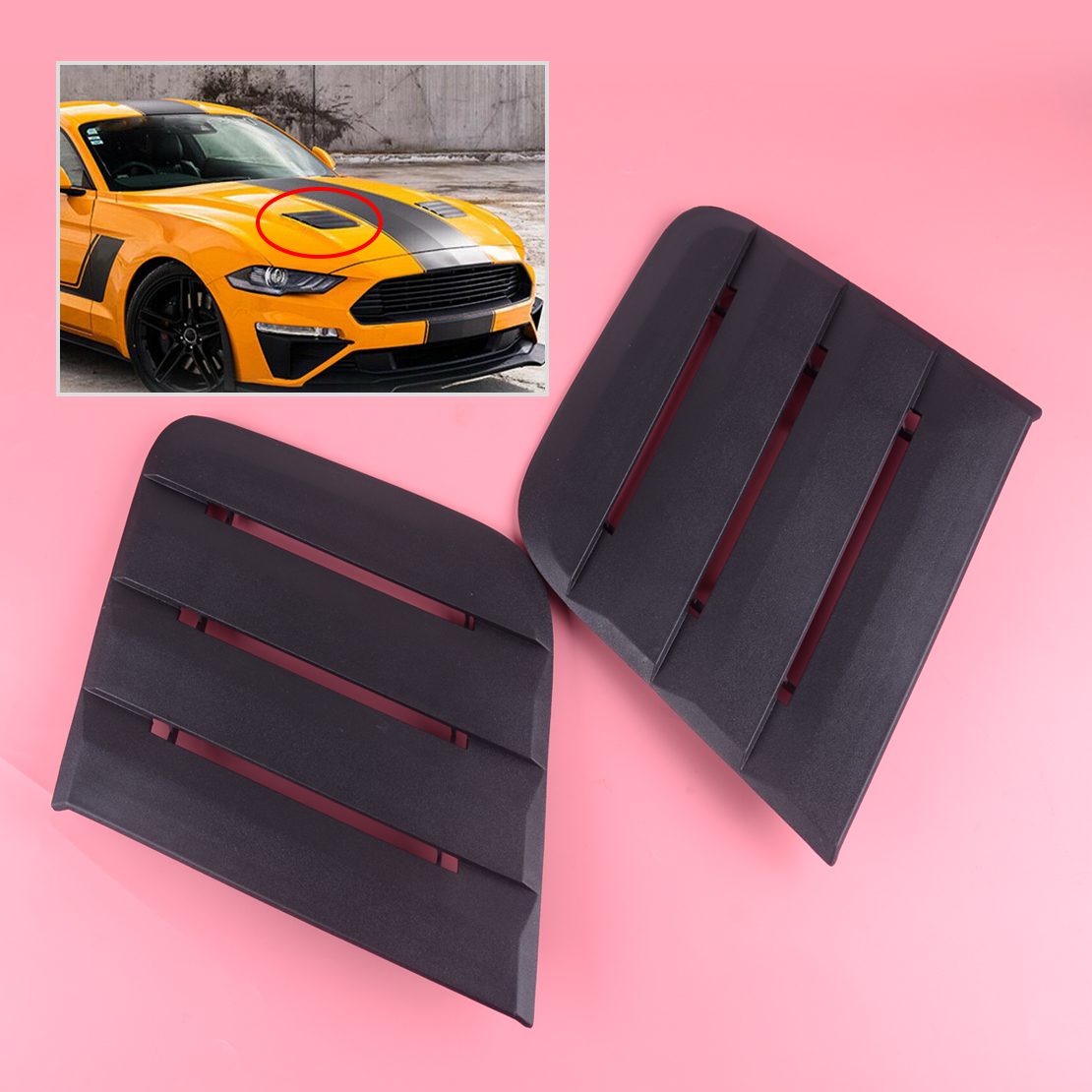 Matte Black Hood Vent Heat Extractors Cover For 2018-2019 Ford Mustang 422083