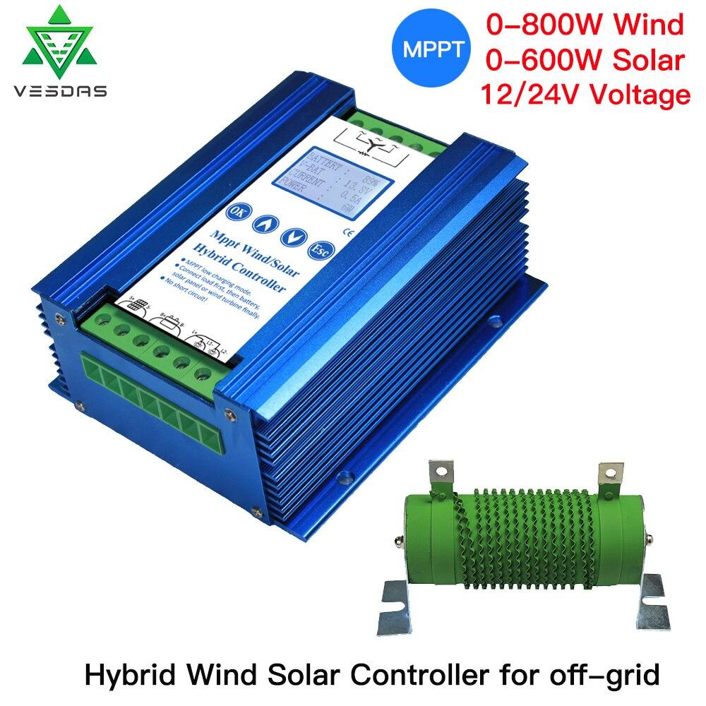 400-1400W 12/24V MPPT Li baterii wiatr słoneczny hybrydowy sterownik ładowania z obciążenia zrzutu kompatybilny z litowo/realizacji-akumulatora kwasowego