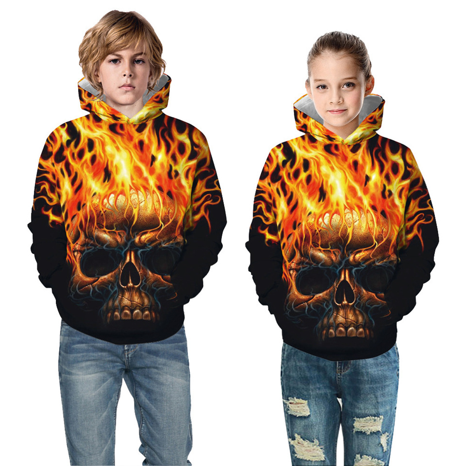 AOOIUU Phish Skull Youth Teen Pullover Hooded Pocket Sweater for Boys and Girls