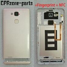 שחור/כסף/אפור/זהב עבור Huawei Ascend Mate 7 MT7 TL10 סוללה אחורי חזרה כיסוי דלת מעטה + טביעת אצבע + NFC + סנטר