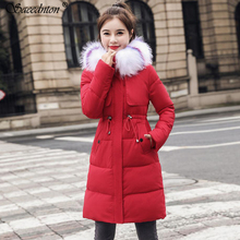 90% White Duck Down Coat For Women 2019 New Winter Woman Fashion Big Faux Fox Fur Hooded Collar Thick Warm Snow Outwear Jacket стоимость